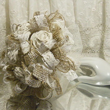 Burlap Bridal Bouquet, with handmade ecru tone cotton roses, ivory lace and tulle. Take 10% off every order with coupon code 10Percent!