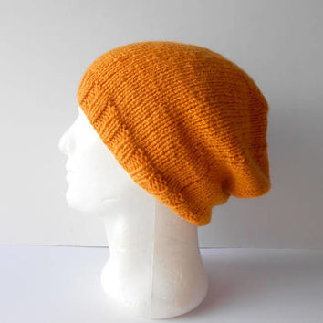 Mustard hat. Men's gift for boyfriend men's knit hat men's knitted hat for men hat for teen Boys knitted beanie  unisex slouchy beanie cap