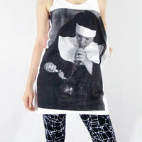 NUN WITH BONG Art Design Long Tank Top Women by punkalife on Etsy