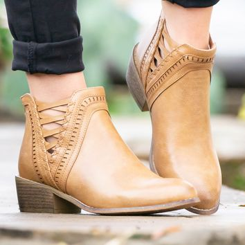 Camel Leather Lace-Up Booties