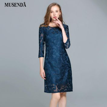 MUSENDA Plus Size Women Royal Blue Hollow Out Lace Dress 2017 Autumn Slim Tunic Three Quarter Sleeve Dress Lady Office Dresses