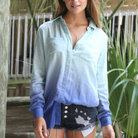 Fresno Blue Ombre Button Down Long Sleeve Shirt