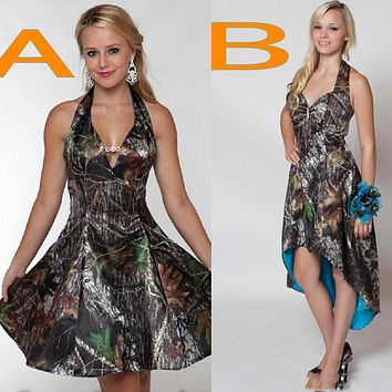 New Camo Short Bridesmaid Dresses 2016 Halter A Line High Low Backless Fashion Plus Size Cheap Wedding Party Dress Custom Made
