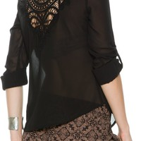 SWELL WOVEN 3/4 SLEEVE LACE TOP