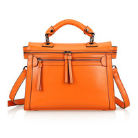 Leather Structured Doctors Bag Across Body Tote Bag w/ Removable Shoulder Strap-Orange from KissBags