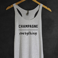 Champagne Over Everything Tank Top in Heather White- Celebration Shirts and Tees - Party Tops - Popular Trending  for Women-Cup of tee