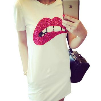 2016 New Arrival T Shirt Women Short Sleeve Casual O-Neck Sequined Tee Tops Female Print Red Lip T-shirt Plus Size 70960