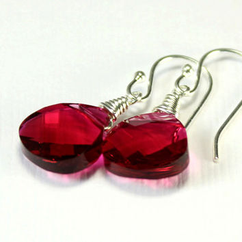 Ruby Crystal Earrings Sterling Silver - Wire Wrapped Earrings - Evening, Bridesmaid Gift, Bridal Jewelry