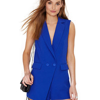 Notched Collar V-neck Sleeveless Jumpsuit