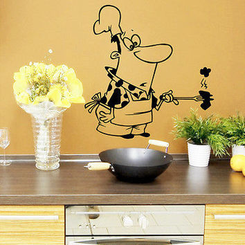 Wall Decals Chef Cook Waiter Cafe Vinyl Sticker Kitchen Decor O168