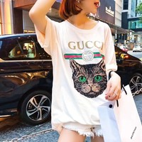 """Gucci"" Women Casual Letter Print Embroidery Sequin Cat Head Short Sleeve T-shirt Shirt Top Tee"