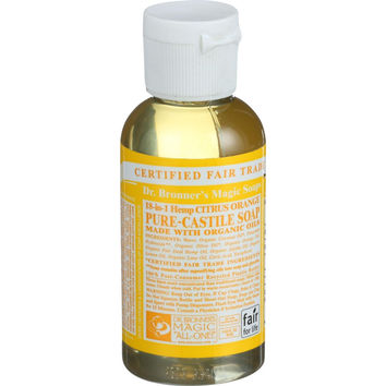 Dr. Bronner's Pure Castile Soap - Fair Trade and Organic - Liquid - 18 in 1 Hemp - Citrus Orange - 2 oz