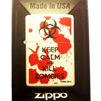 Zippo Custom Lighter - Keep Calm and Kill Zombies Bloody Blood Splatter Biohazard Logo White Matte Finish Rare 214CI012569