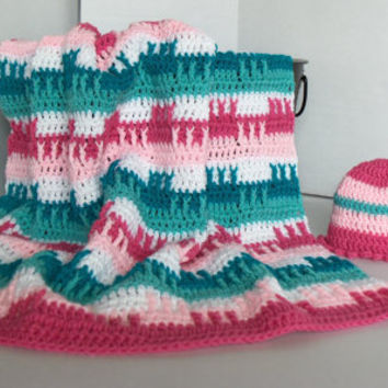 Baby Girl Teals and Pinks Afghan Hat and Bootie by SnugableTouches