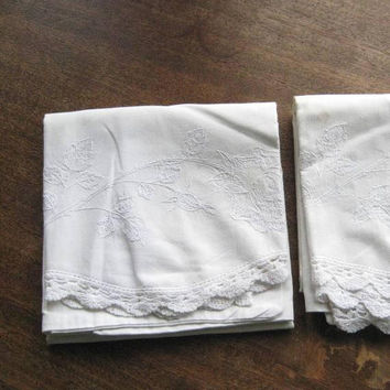 Set of 2 White Standard-Size Pillowcases w/ White Floral Embroidery & Crocheted Trims; 2 Shabby Chic White Pillowcases; Some  Flaws/Lovely