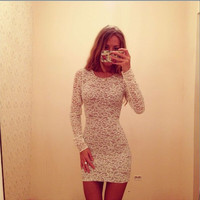 Fashion sexy lace long sleeves dress  GV1215BC