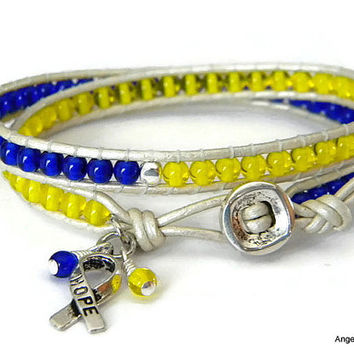 Down Syndrome Awareness Bracelet Czech Glass Beads Leather Wrap Bracelet Double Wrap Bracelet with Czech Glass Beads