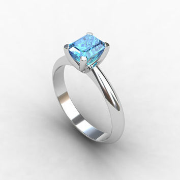Blue topaz ring, White gold, Solitaire, engagement ring, Sky blue, blue engagement, Wedding ring, Birthstone, emerald cut