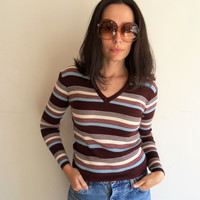 Vintage 70s Striped V Neck Shirt