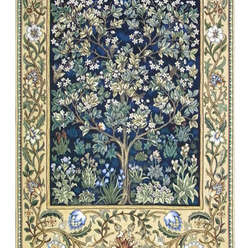 Tree of Life in Blue Tapestry Wall Art Hanging