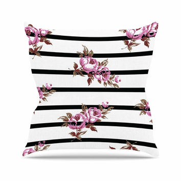 "NL Designs ""Purple Floral Stripes"" Black White Throw Pillow"