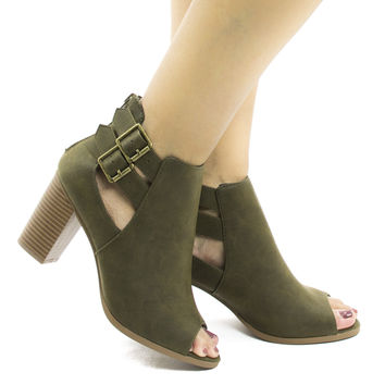 Wilma Olive Pu by Soda, Olive Pu Peep Toe Cut Out Ankle High Stacked Heel Booties