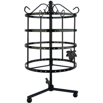 MyGift® 4 Tiers Black Rotating Spin Table 92 pairs Earring Organizer / Jewelry Display Stand