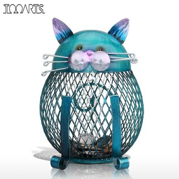 Tooarts Blue Cat Bank Shaped Piggy Bank Metal Coin Bank Money Box Figurines Saving Money Home Decor Favor Gift For Kids