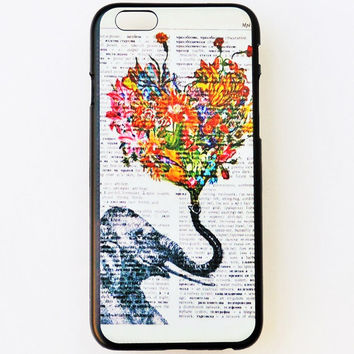 iPhone 6 Plus Case Cover Elephant Pattern iPhone 6 Plus Hard Case Newspaper Vintage Back Cover For iPhone 6 Plus Slim Design Case