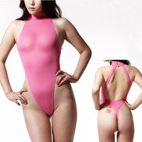 NEW Sexy One Piece Swimwear Backless High Cut Swimsuit Womens Thong Bathing Suits Leotard Body Suit Sexy Love Night Dance Wear