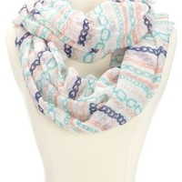 Multi-Color Chain Link Printed Infinity Scarf - Purple Combo