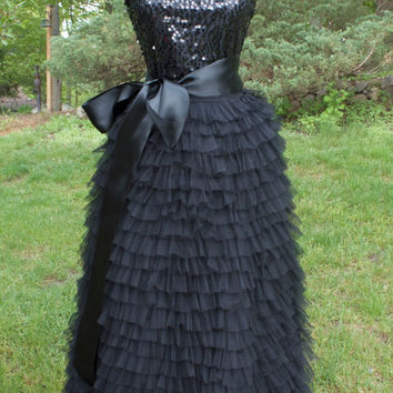 Long Black Tiered tulle skirt