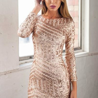 Long Sleeves Gold Sequin Dress @ LushFox.com :: Current Fashion Trends & Styles