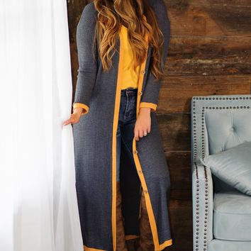 * Going with the Flow Long Cluster Cardigan - Charcoal/Mustard