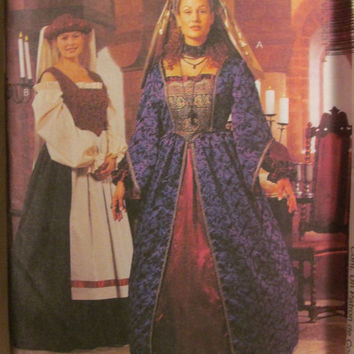 SALE Uncut McCall's Sewing Pattern, 2243! Plus Size Medieval Dresses/Renaissance Costumes/Victorian/Maiden/Wench/Headpiece/Historical Costum
