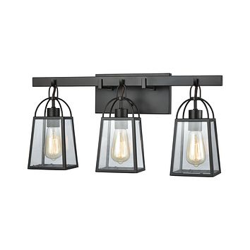 Barnside 3-Light Vanity Lamp in Oil Rubbed Bronze with Clear Glass Panels