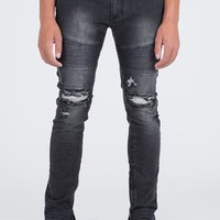 Moto Skinny Fit Drop Crotch Black Denim Jeans