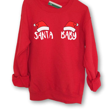 Santa Baby Christmas Sweater // Jumper // Unisex // Gift // Black Pink Grey White // S M L XL