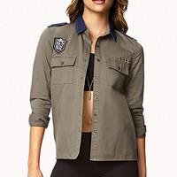 FOREVER 21 Chambray-Paneled Military Shirt Denim/Olive Small