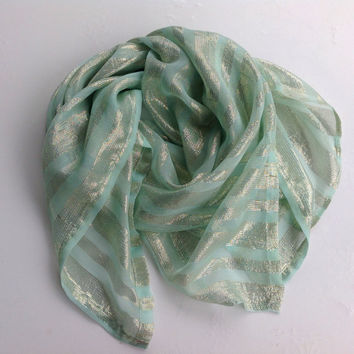 Mint Green Silk Square Shawl, Gift for Mom, Birthday present for wife, Bridesmaid accessory, Boho wedding, Teenager gift, Bling scarf