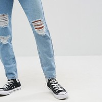 Noisy May Petite Midwash Ripped Mom Jean at asos.com