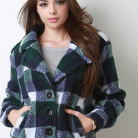 Plaid Fleece Button Up Jacket
