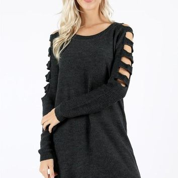 ladder long sleeve tunic sweater