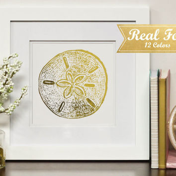 Real Gold Foil Print With Frame (Optional) - Golden Sand Dollar, Beach Art, Beachy Decor, Housewarming Gift, Ocean Wall Decor, Gifts, Office