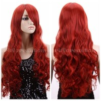 Fashion Women Lady Long Wavy Curly Hair Anime Cosplay Party Full Wig Wigs +Caps