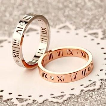 Stylish Ladies Men Couple Ring Diamond Ring Lettering Roman Numerals Rings