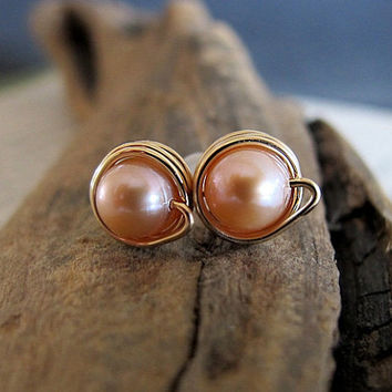 Peach Pearl Studs - Gold Wrapped Freshwater Pearl Stud Post Earrings - Bridal, Wedding Earrings - Pearls Studs - Pearl Jewelry - Minimalist