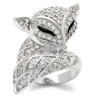 Rhodium Plated CZ Fox Ring