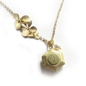 Flower Hexagon Locket Hand Stamped Initial Necklace Personalized Jewelry Birthday Wedding