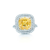 Tiffany & Co. - Square Fancy Intense Yellow diamond ring in platinum with white diamonds.